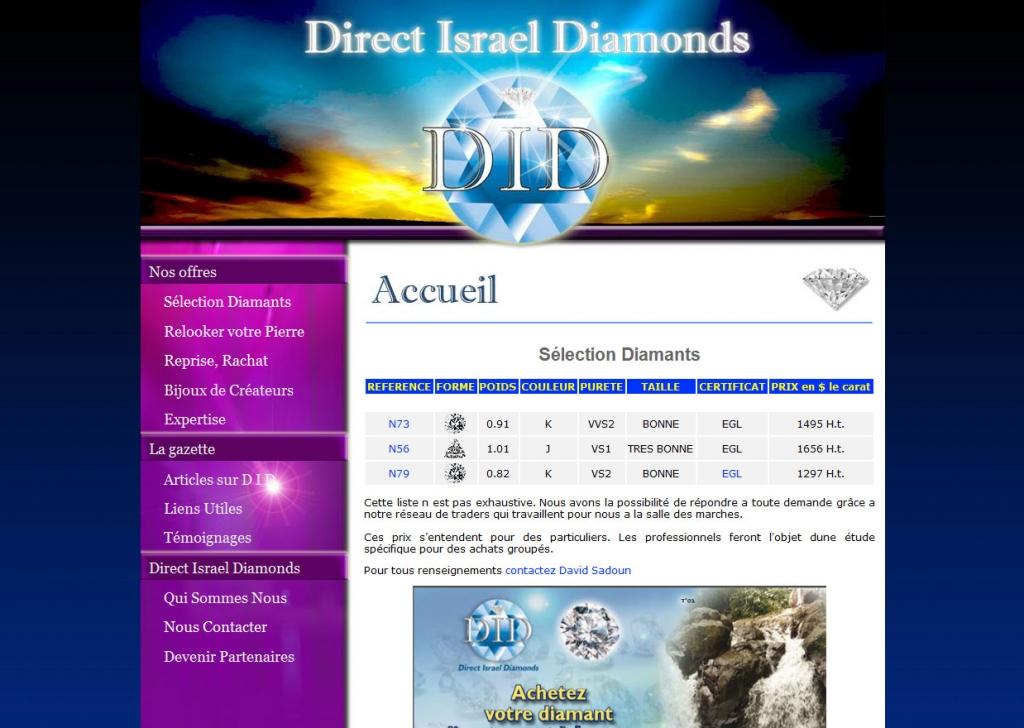 Direct Israel Diamonds web design