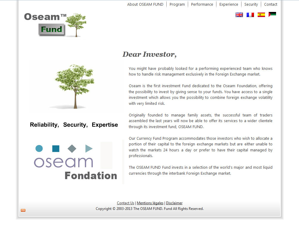 Oseam Fund web design
