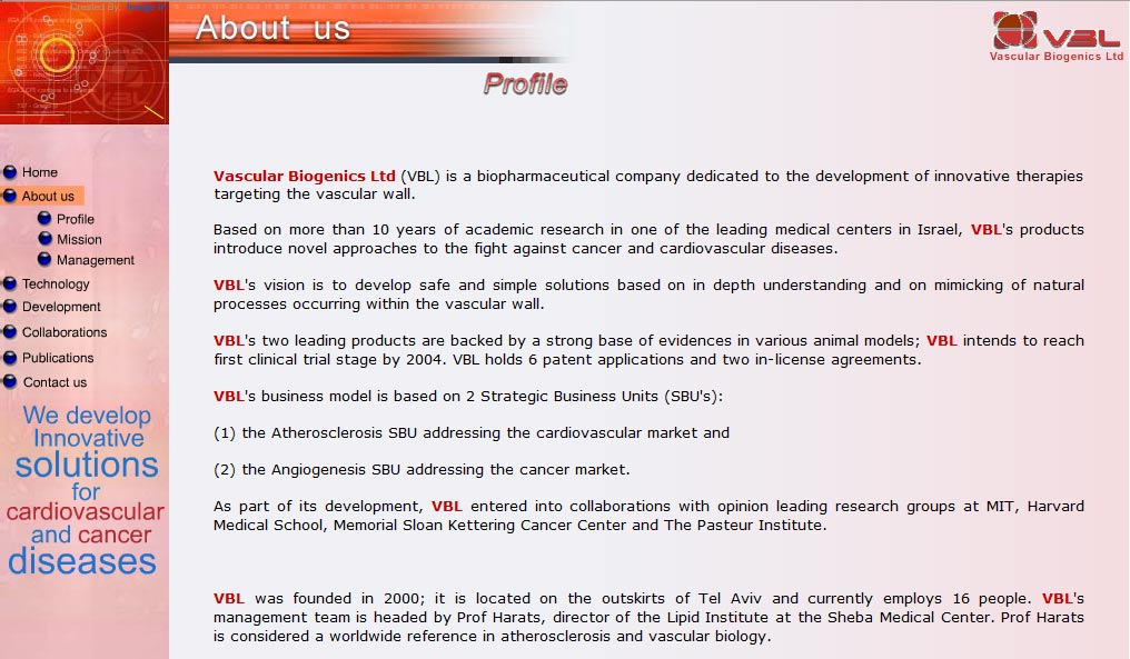 VBL Biotechnology web design