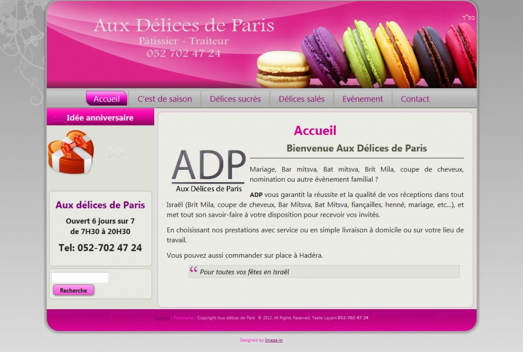 Aux delices de Paris web design